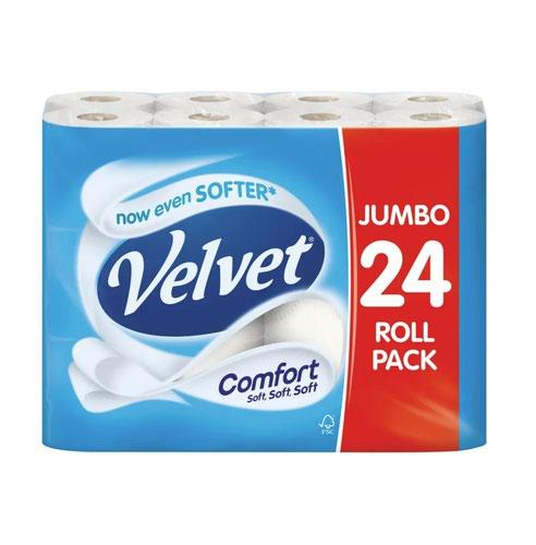 Velvet Comfort 2 Ply White Toilet Rolls (Pack 24) 1102049