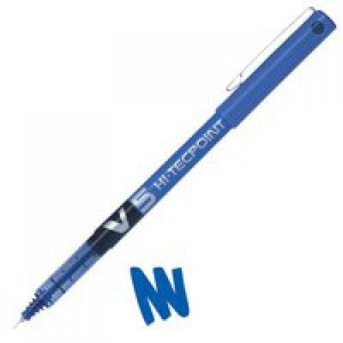 Pilot V5 Hi-Tecpoint Liquid Ink Rollerball Pen 0.5mm Tip 0.3mm Line Blue (Pack 12)