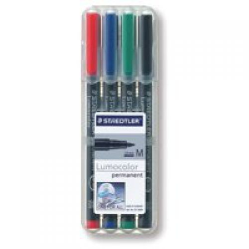 Staedtler Lumocolor OHP Pen Perm Med 0.8mm Assorted PK4