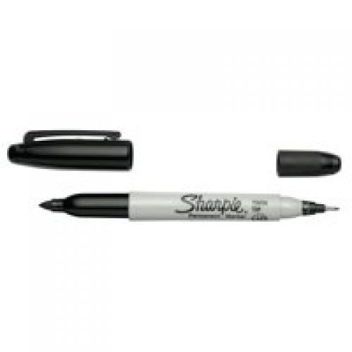 Sharpie Twin Tip Permanent Marker 1.5mm & 0.4mm Line BK PK12