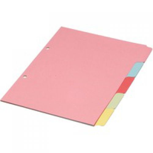 ValueX Divider A5 5 Part Multipunched Assorted Pastel Coloured Card 70599/J5