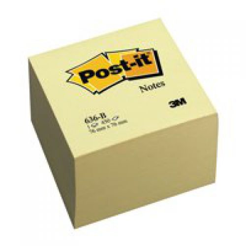Post-it Note Cube 76x76mm Canary Yellow 636-B