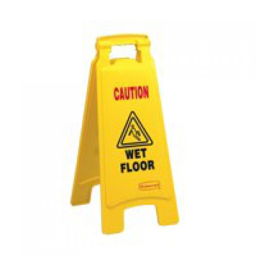 Caution Wet Floor Yellow Sign Plastic