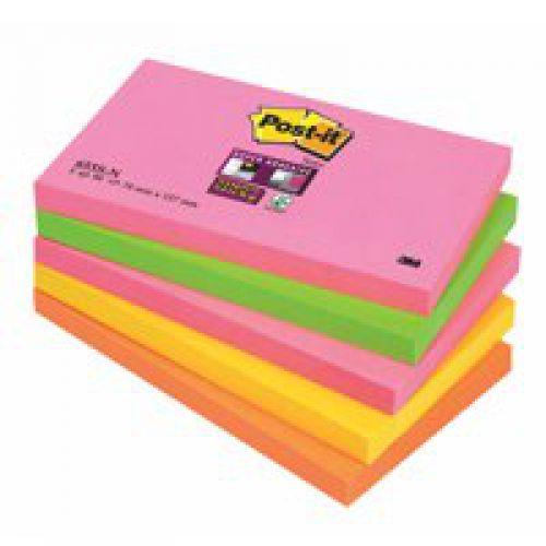 Post-it Super Sticky 76x127mm Neon Rainbow 655-NS (PK5)