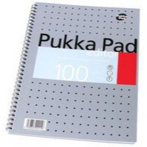 Pukka Pad A4 Editor Wirebound Ruled 100 Page Metallic PK3