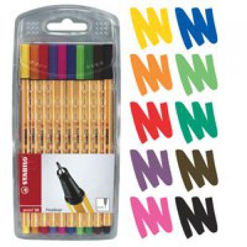 Stabilo Point 88 Fineliner Pen 0.4mm Line Asstd Ref 8810 [Pack 10]
