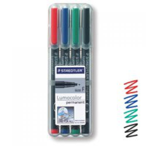 Staedtler Lumocolor OHP Pen Perm Fine 0.6mm Assorted PK4