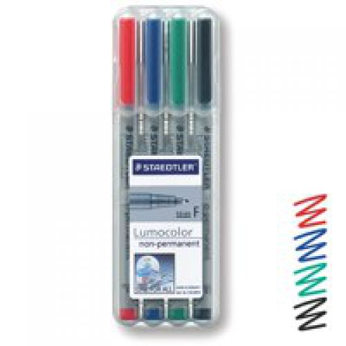 Staedtler Lumocolor OHP Pen Non-perm Fine 0.6 Assorted PK4
