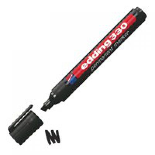 Edding 330 Permanent Marker Chisel 1-5mm Black PK10