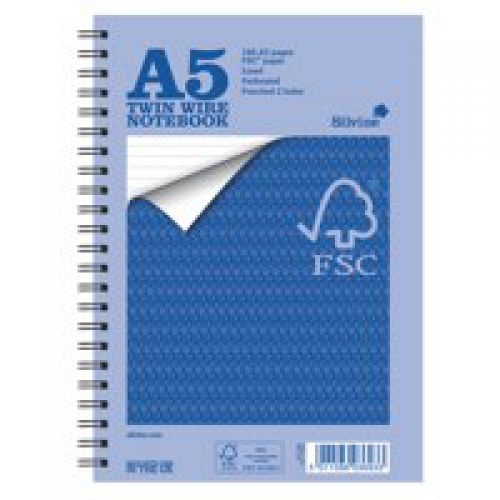 Silvine FSC Certified A5 Notebook Feint Ruled Perforated PK5