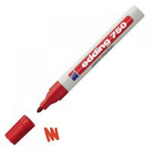 Edding 750 Paint Marker Bullet Tip 2-4mm Line Red (Pack 10)