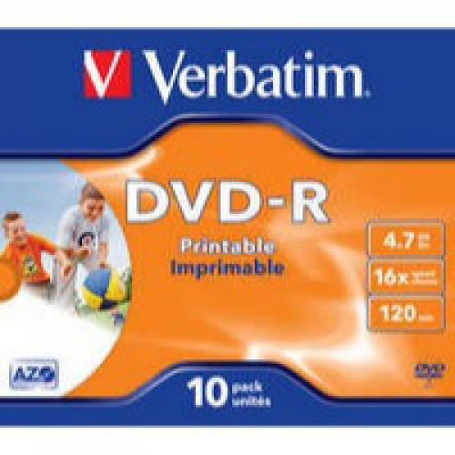 Verbatim DVD-R 4.7GB Printable Jewel Case Box of 10