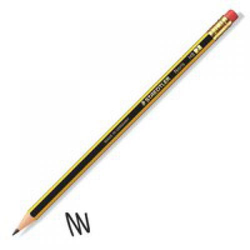 Staedtler Noris HB Pencil Rubber Tip Black Yellow PK12