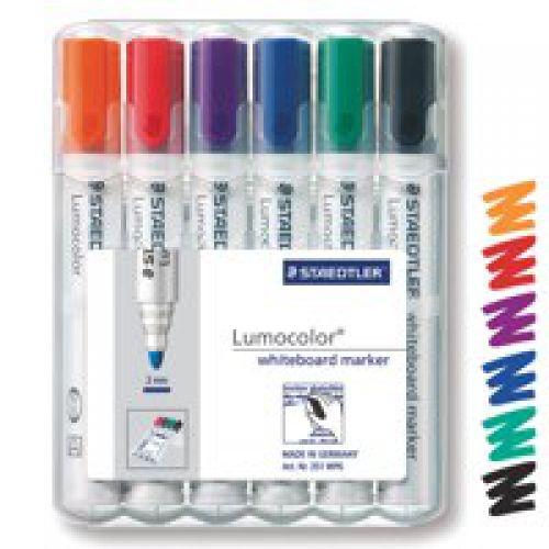 Staedtler Lumo Whiteboard Marker Bullet Tip Assrtd Clrs PK6