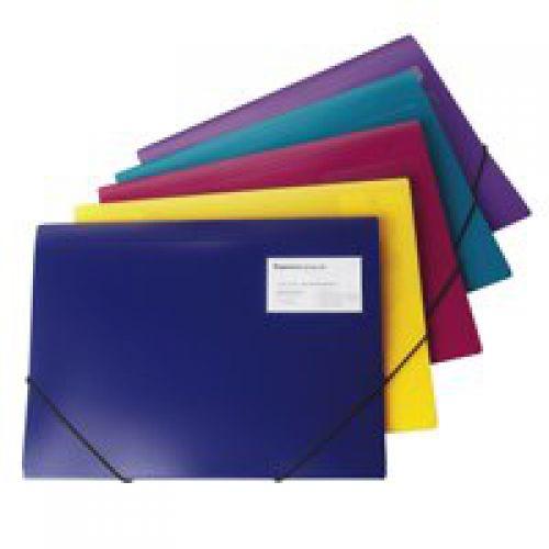 Rapesco A4 Plus 3Flap Folio Wallet Elasticated Assorted (Pack 5)