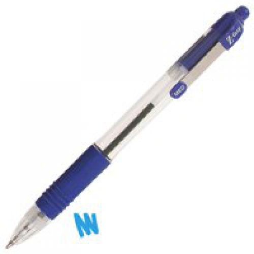 Zebra Z-Grip Retractable Ballpoint Metal Clip Med Blue PK12