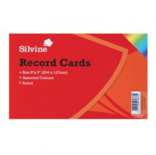 Silvine Record Cards 203x127mm Ruled Assorted Colours