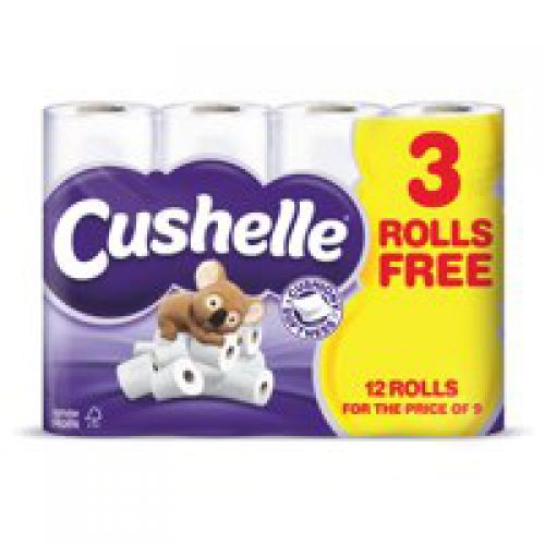 Image for Cushelle 2-Ply Toilet Rolls White Pack 12 for the price of Pack 9