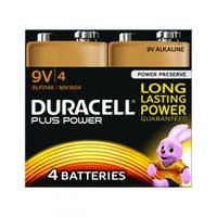 Duracell Plus Power 9V Alkaline Battery (Pack 4) MN1604B4PLUS