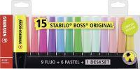 Stabilo BOSS Deskset Highlighter Pen Chisel Tip Assorted Colours (Pack 15)