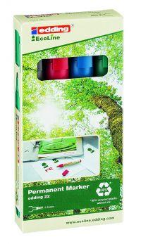 Edding 22 EcoLine Permanent Marker Chisel Tip 1-5mm Line Assorted Colours (Pack 4)