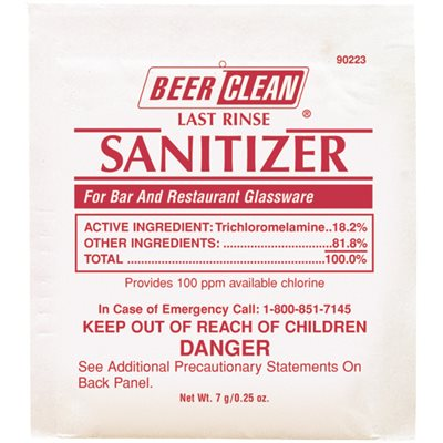 SANITIZER 90223 BEER CLEAN POWDER-CHLORIDE 100 PKT/CASE
