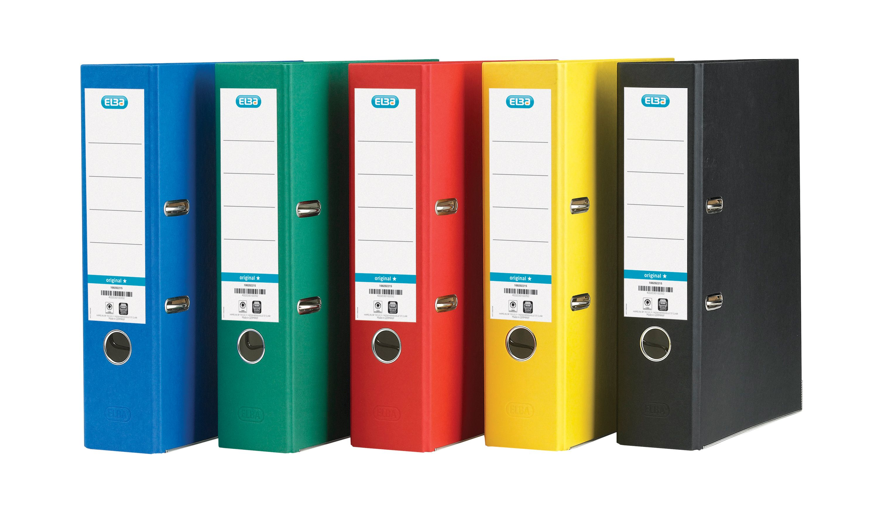 Elba Lever Arch File A4 Coloured Paper Over Board 80mm Spine Assorted Ref 100025220 [Pack 10]