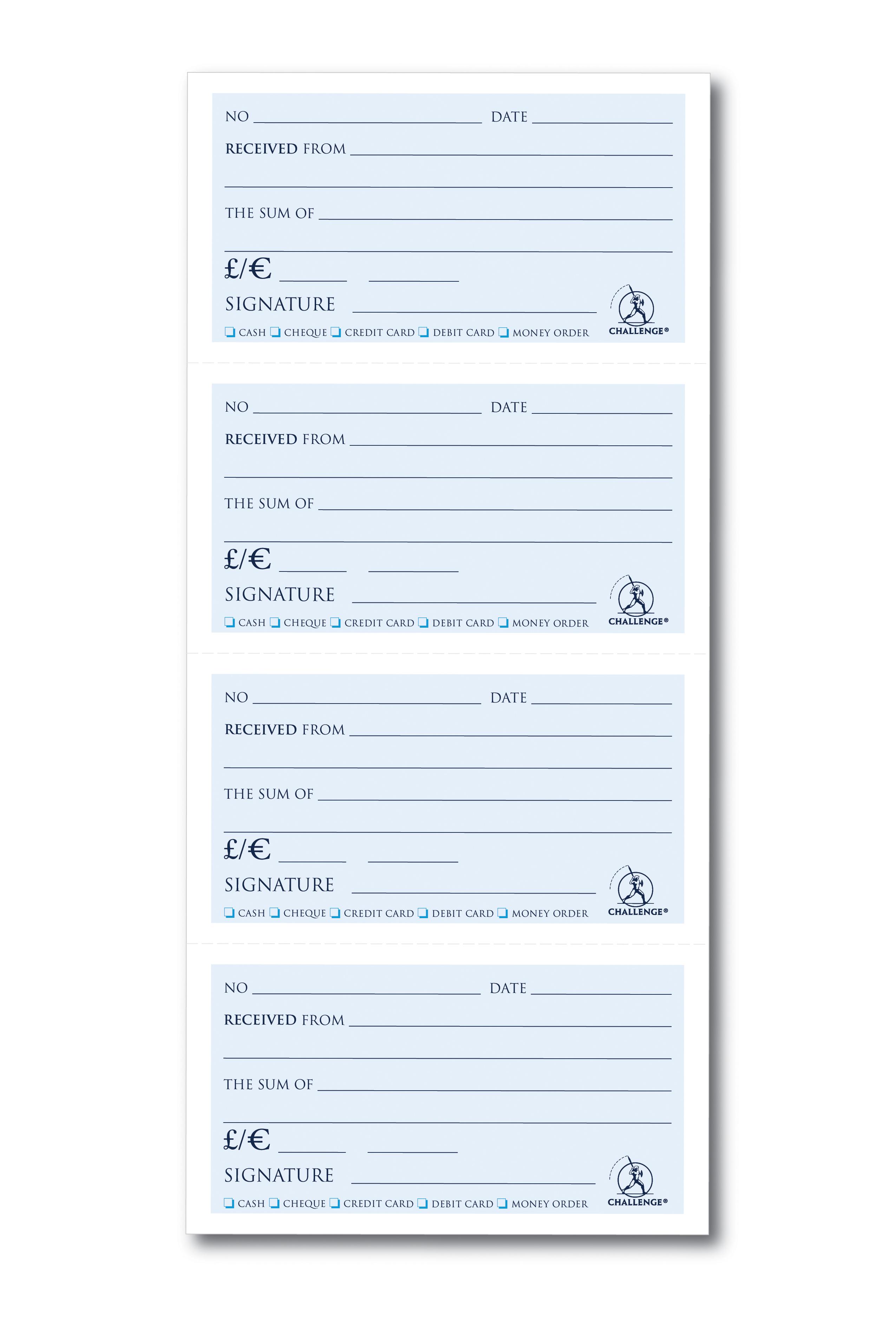 challenge duplicate receipt book wirebound 4 sets per page 200