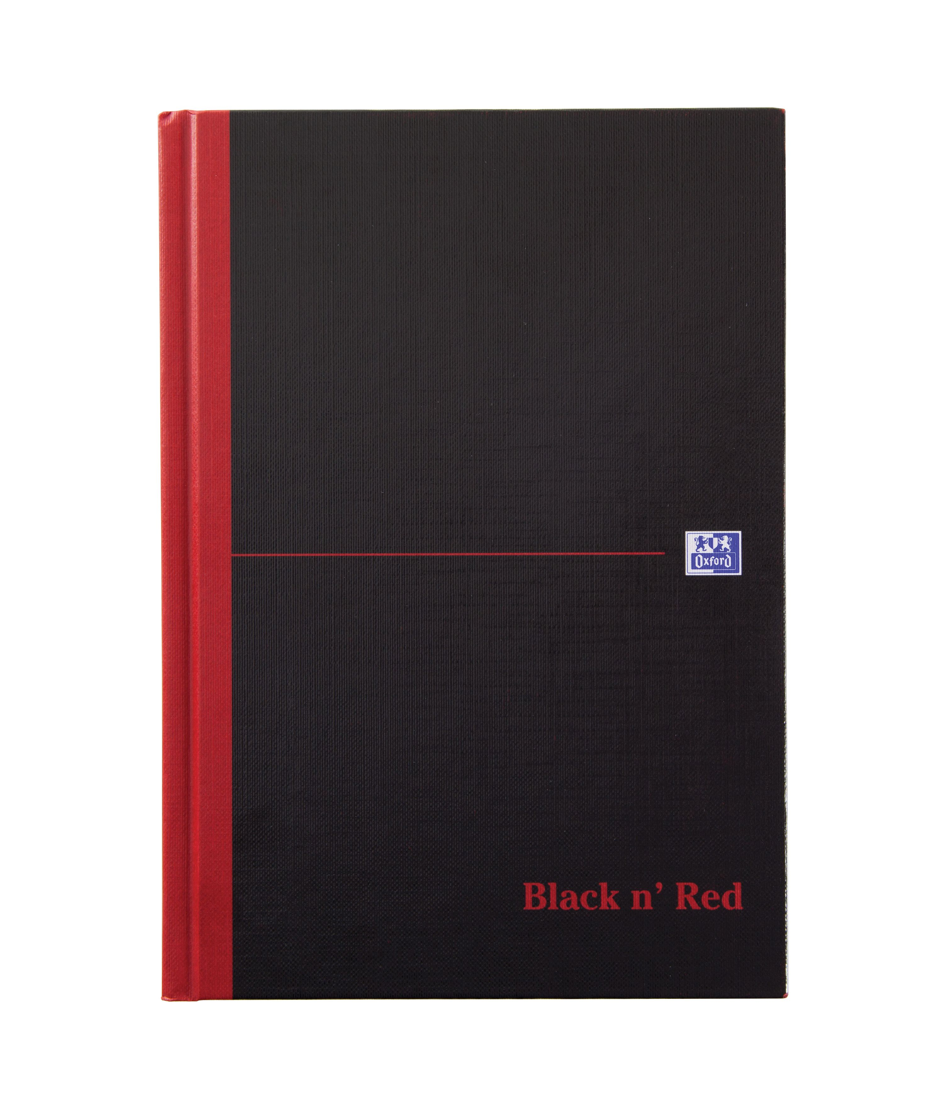 Black n Red Book Casebound 90gsm Single Cash 192pp A5 Ref 100080414 [Pack 5]