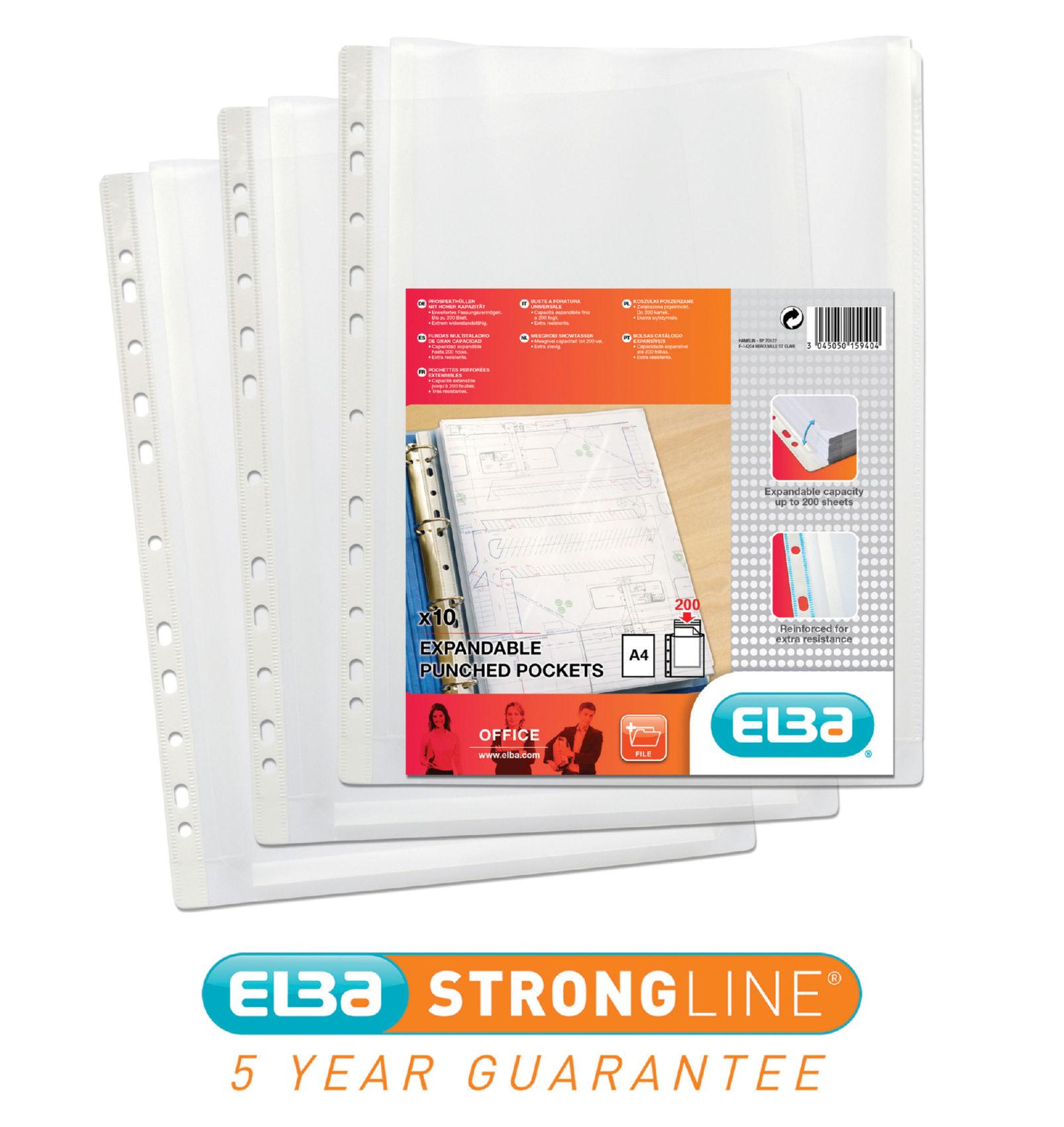 Plastic Pockets Elba A4 Clear Expanding Pockets 100080753 PK10