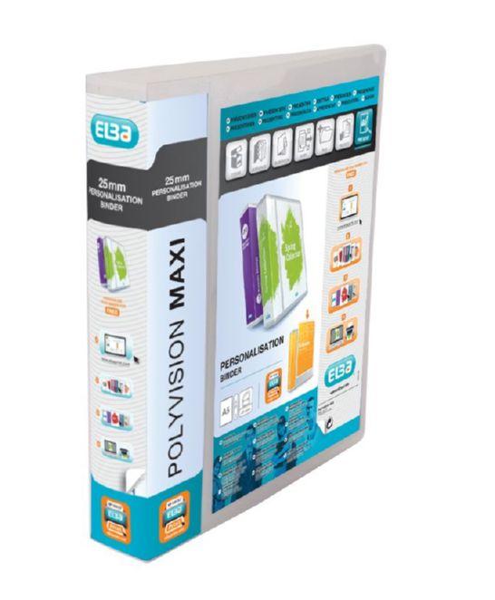 Elba Polyvision Maxi Presentation Binder Polypropylene 2 D-Ring 25mm Clear A5 Ref 100080801 [Pack 10]