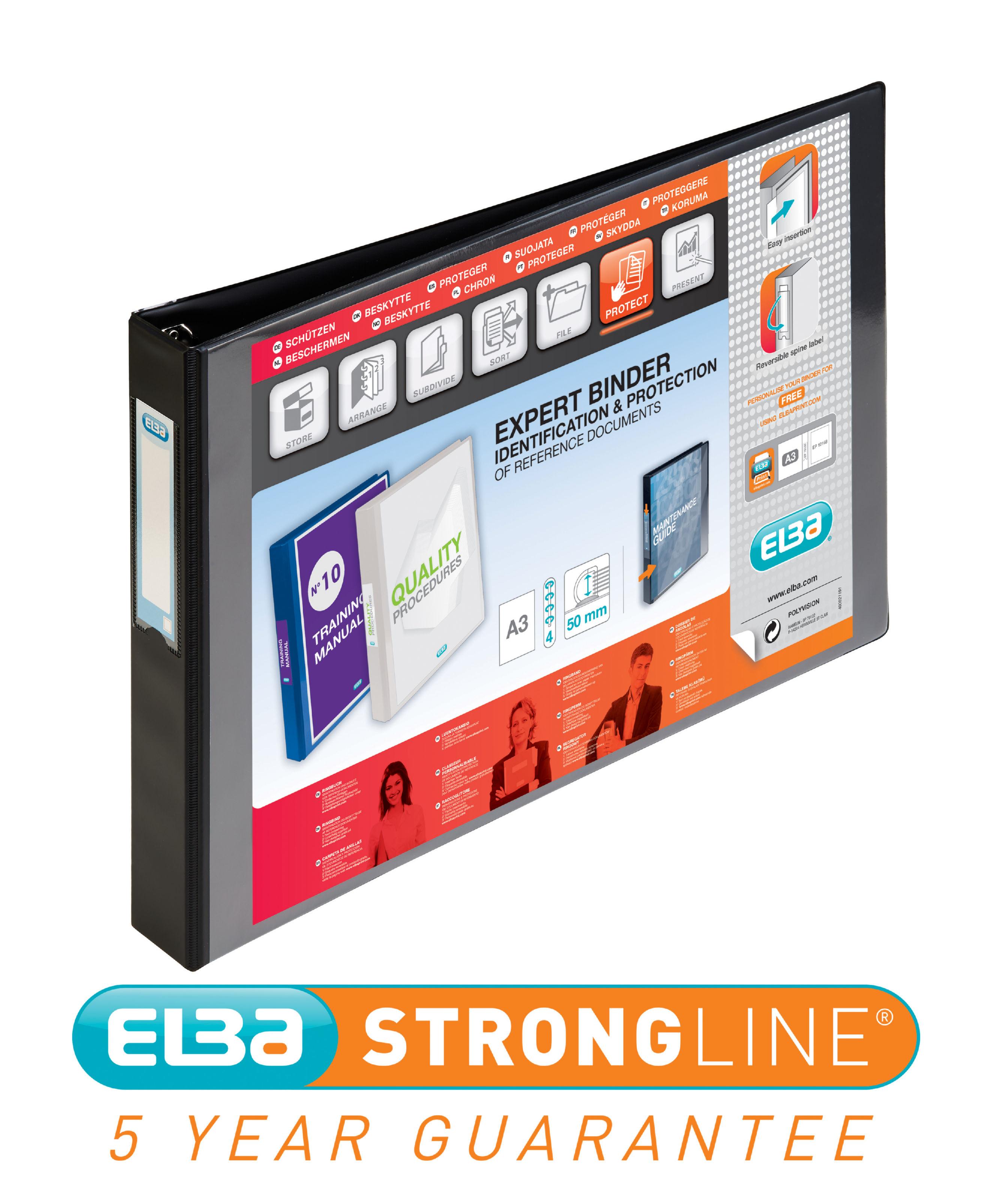Elba Vision 30mm 4D-Ring Binder Oblong A3 Black 400000113