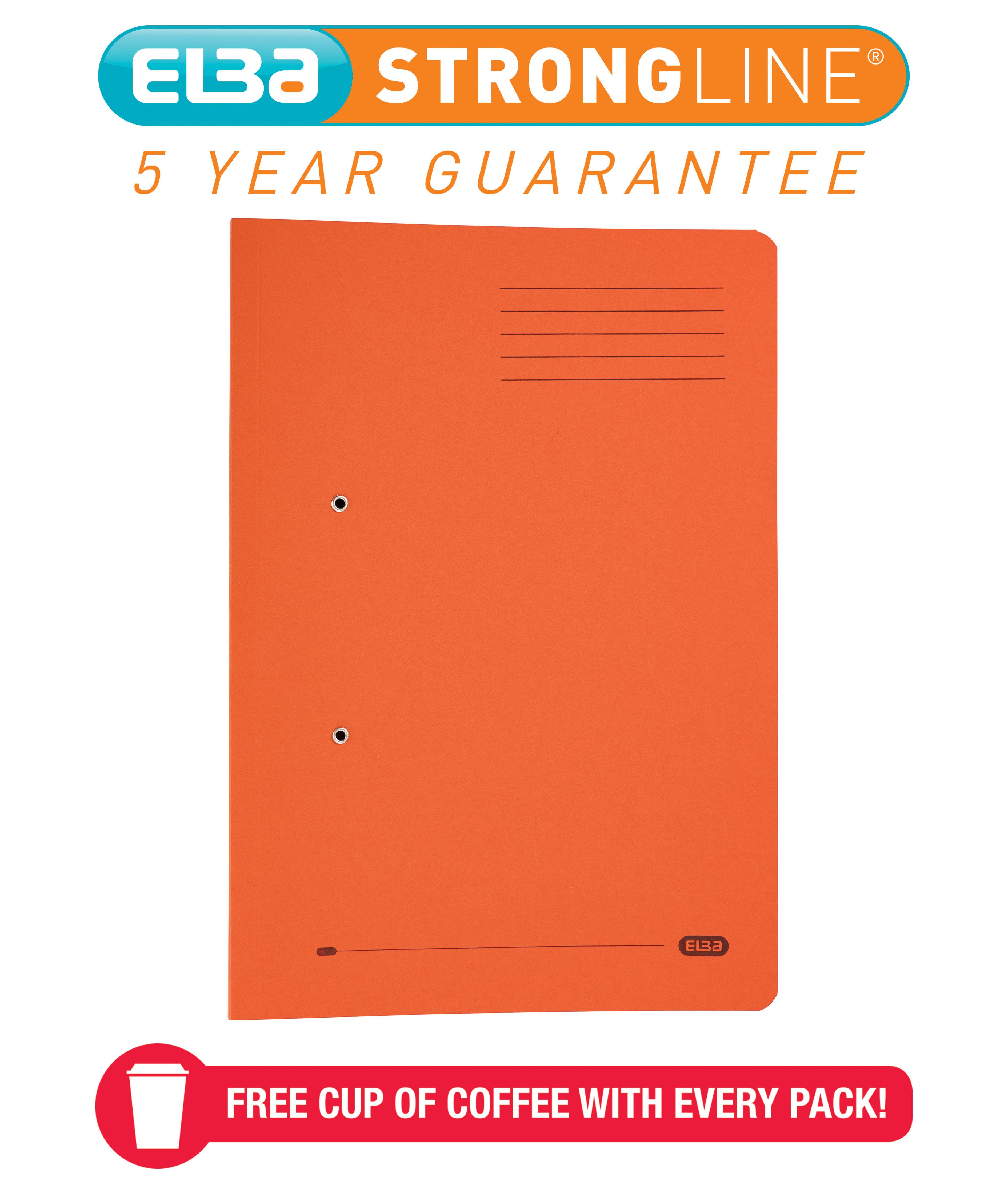 Elba Stratford Transfer Spring File Recycled Pocket 320gsm 36mm Foolscap Orange Ref 100090148 [Pack 25]