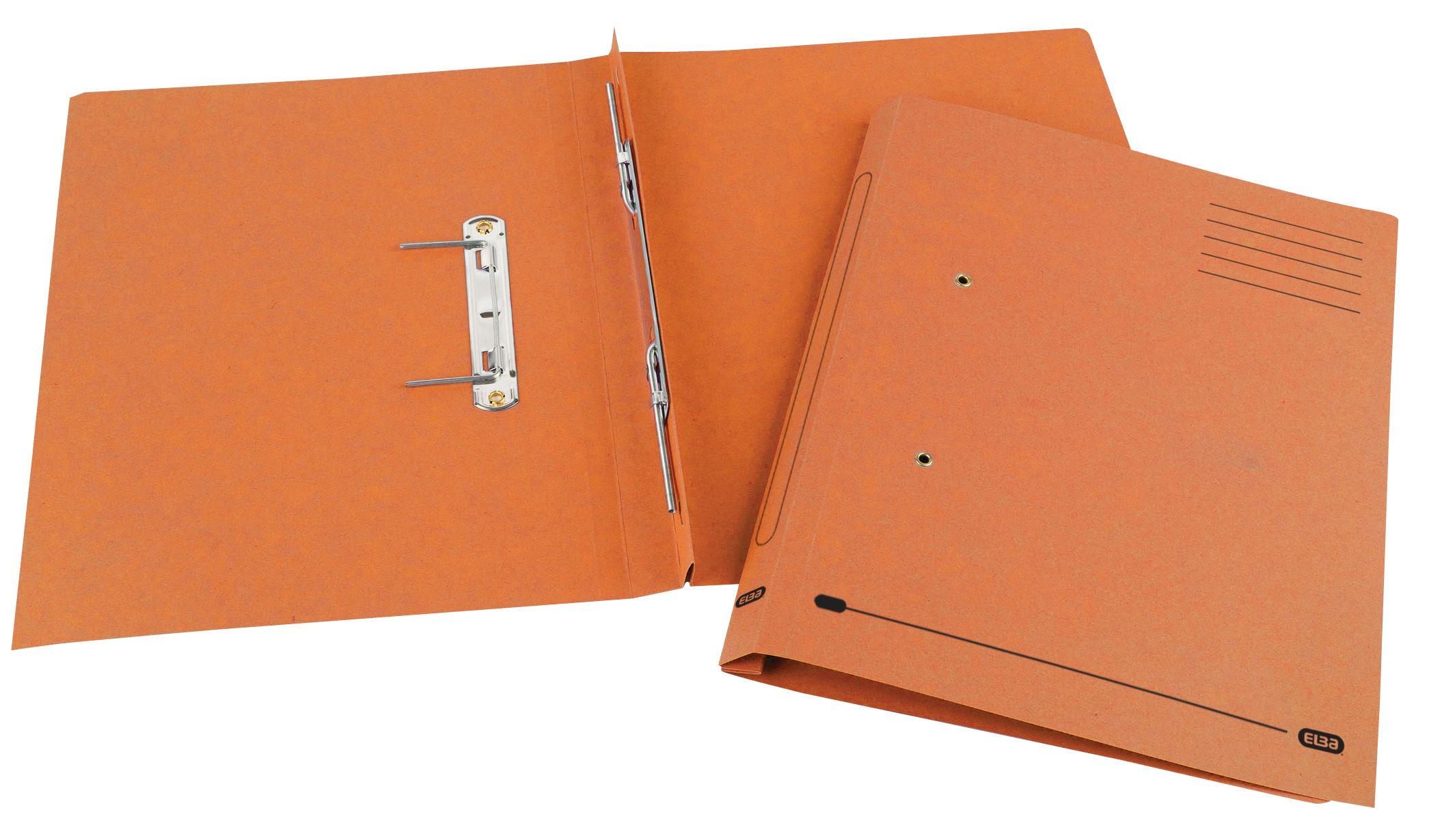 Elba Spirosort Transfer Spring File Recycled Mediumweight 285gsm Foolscap Orange Ref 100090161 [Pack 25]