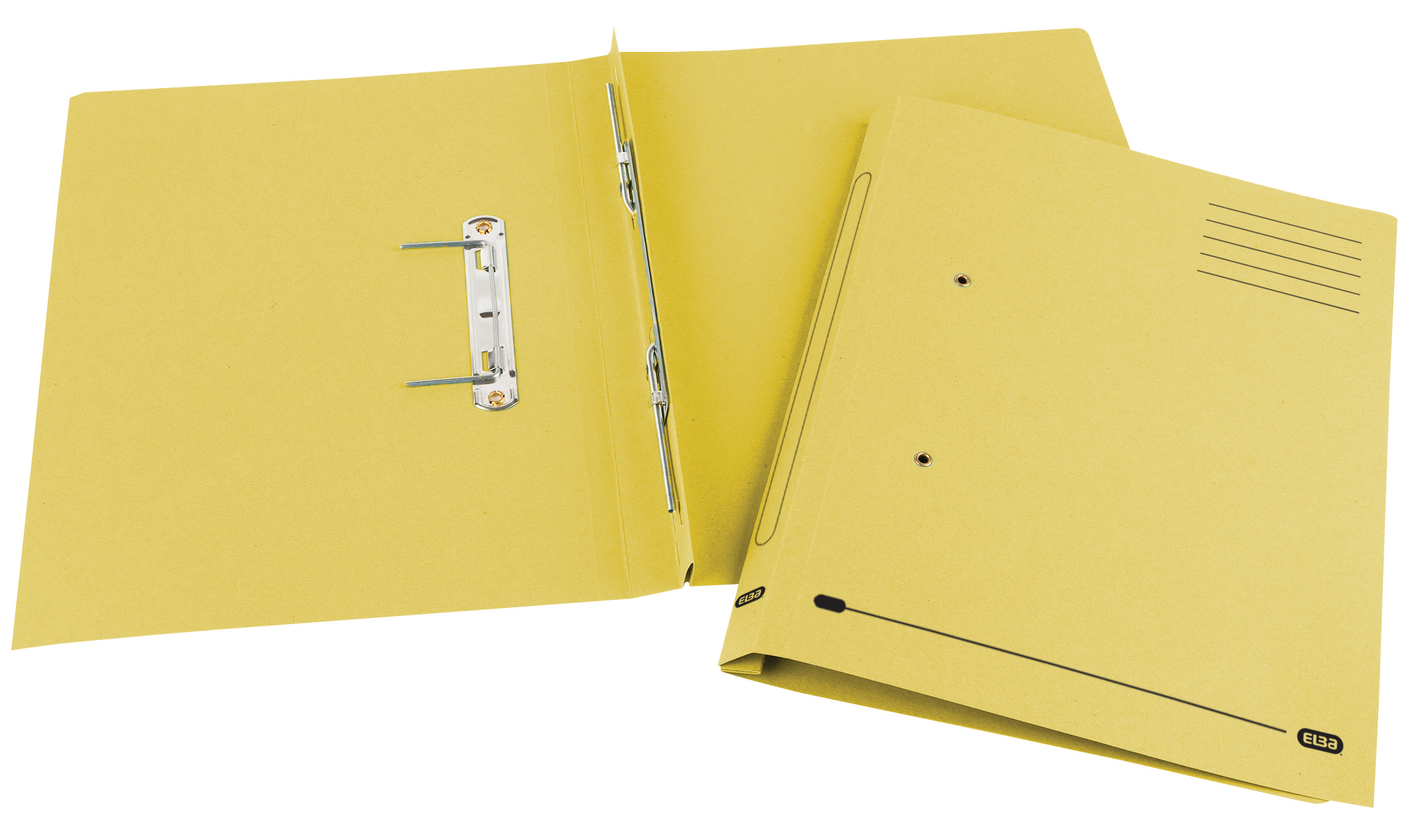 Elba Spirosort Transfer Spring File With Pocket Recycled 315gsm 35mm Foolscap Yellow