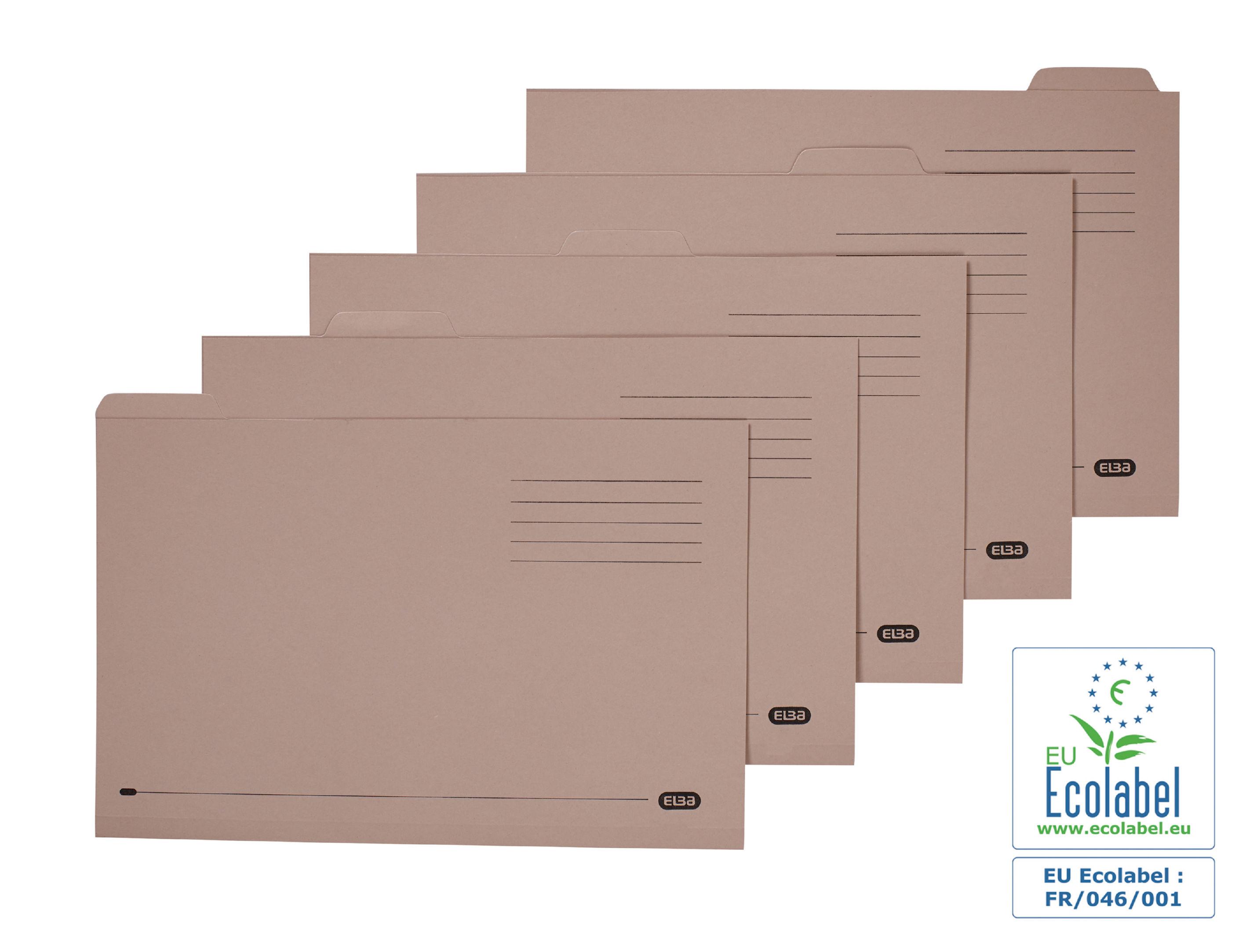 Square Cut Folders Elba (Foolscap) Tabbed Folders Mediumweight 250gsm Buff (Pack 100)