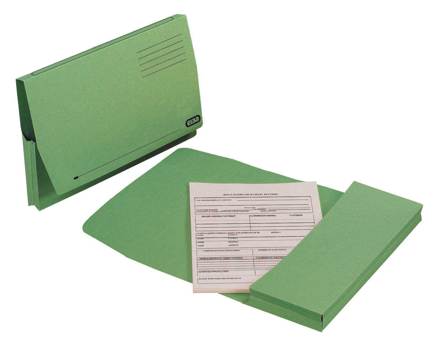 Elba Document Wallet Full Flap 260gsm Capacity 32mm Foolscap Green Ref 100090254 [Pack 50]
