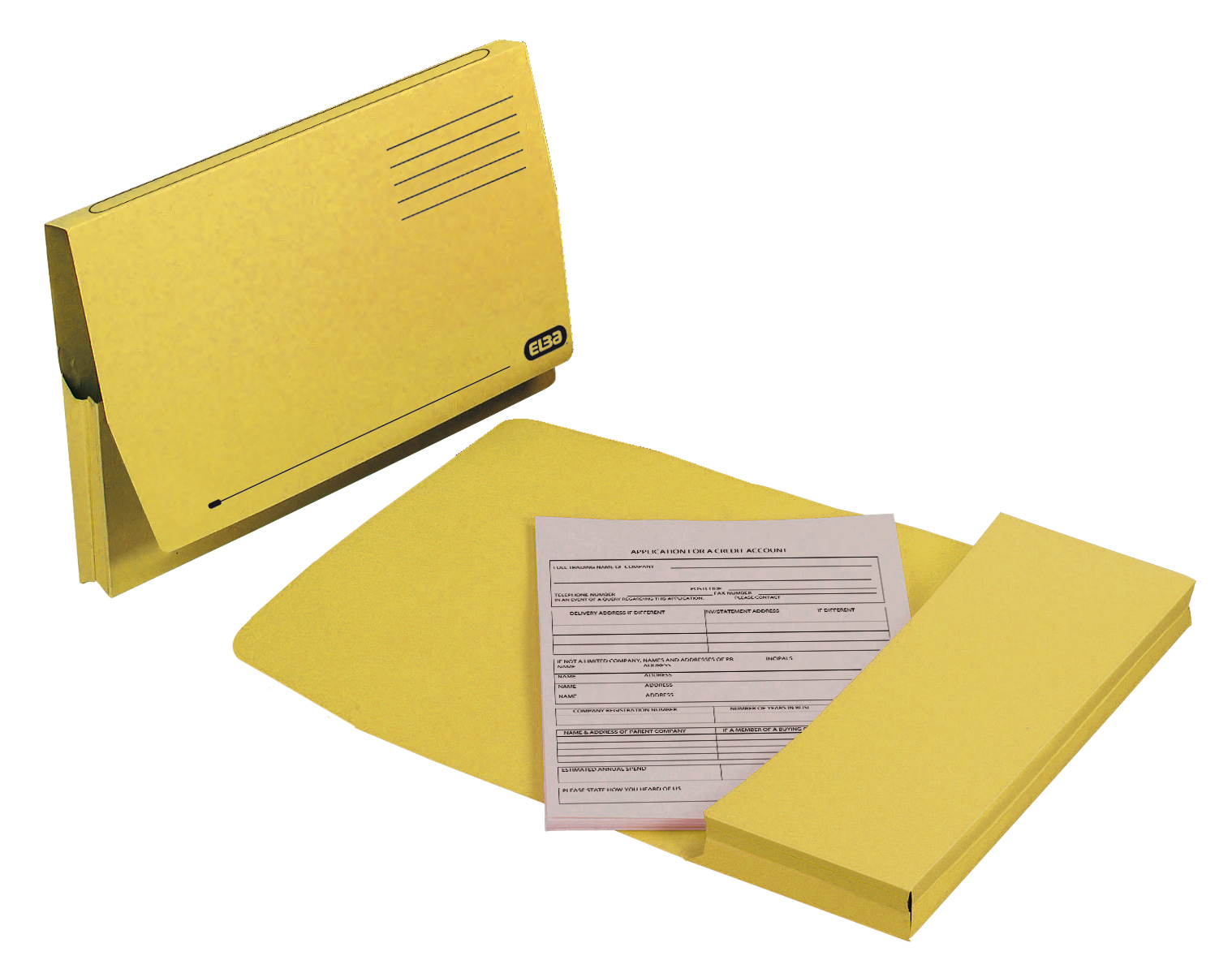 Elba Document Wallet Full Flap 285gsm Capacity 32mm Foolscap Yellow Ref 100090258 [Pack 50]
