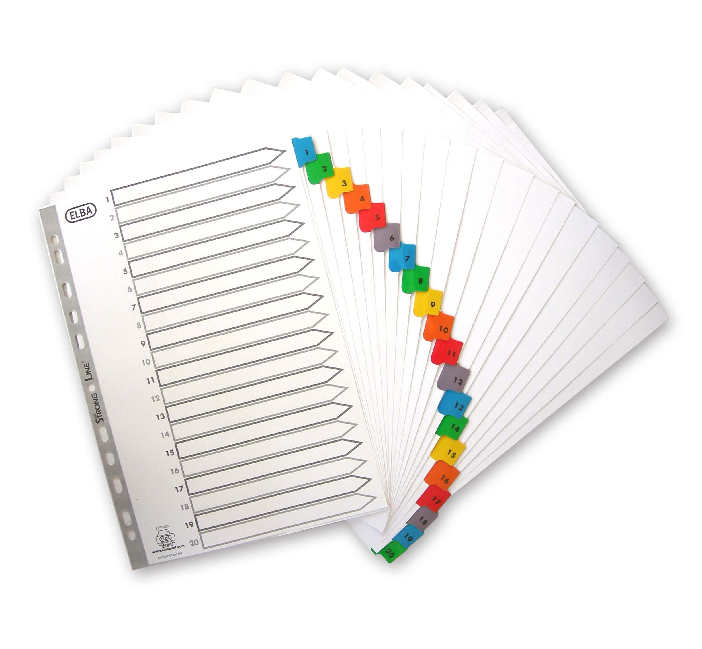 Elba Dividers Europunched 1-20 with Coloured Tabs A4 White Ref 100209108