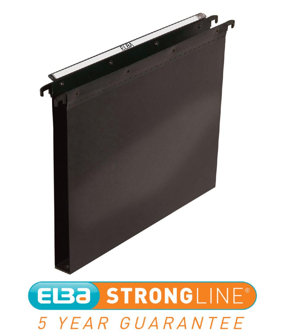 Suspension File Elba Strongline (Foolscap) Ultimate Suspension File Polypropylene 30mm Base Black (Pack 25)