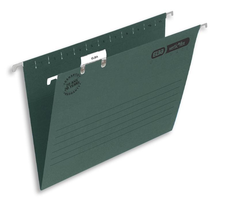 Suspension File Elba Verticfile (Foolscap) Manilla 240gsm Ultimate Suspension File Green (Pack 50)