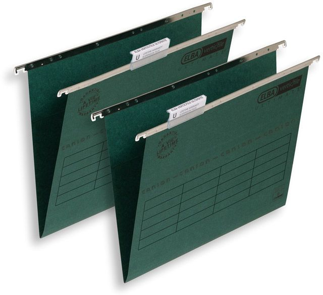 Elba Verticfile Ultimate Suspension File Manilla 240gsm A4 Green Ref 100331251 [Pack 50]