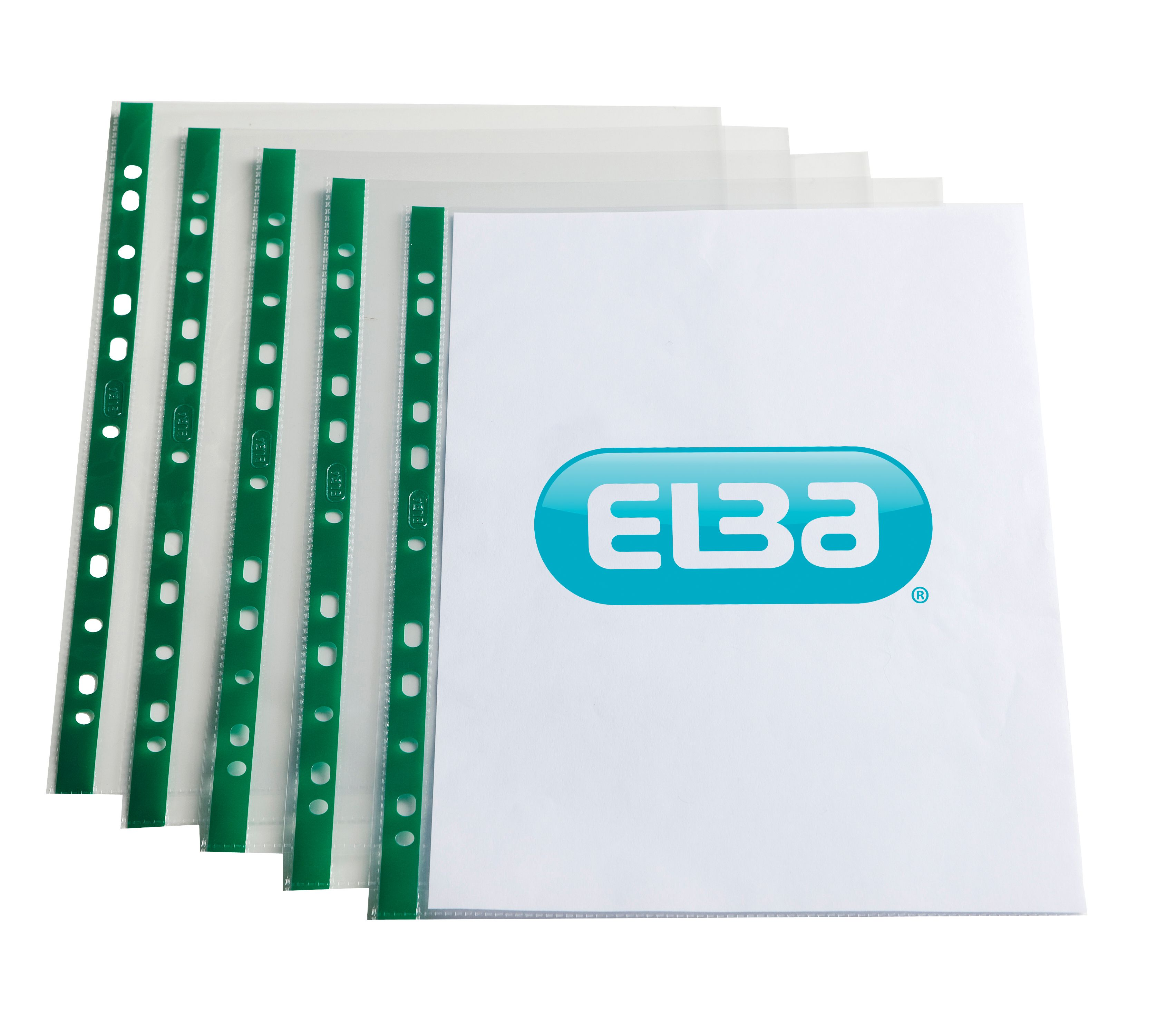 Elba Standard Pocket Polypropylene Green Strip Top-opening 55 Micron A4 Clear Ref 400002137 [Pack 100]