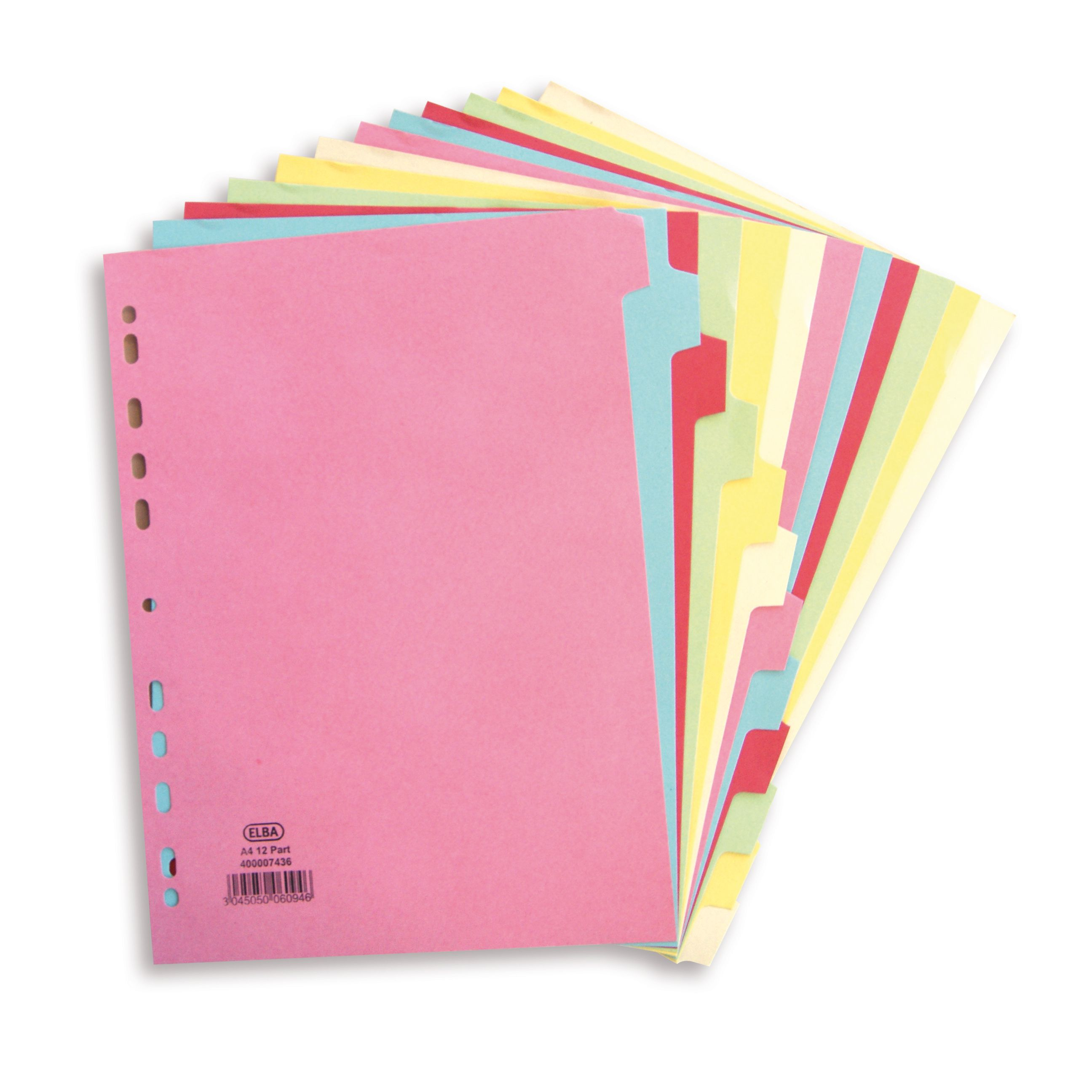 Elba Card Dividers Europunched 12-Part A4 Assorted Ref 400007436