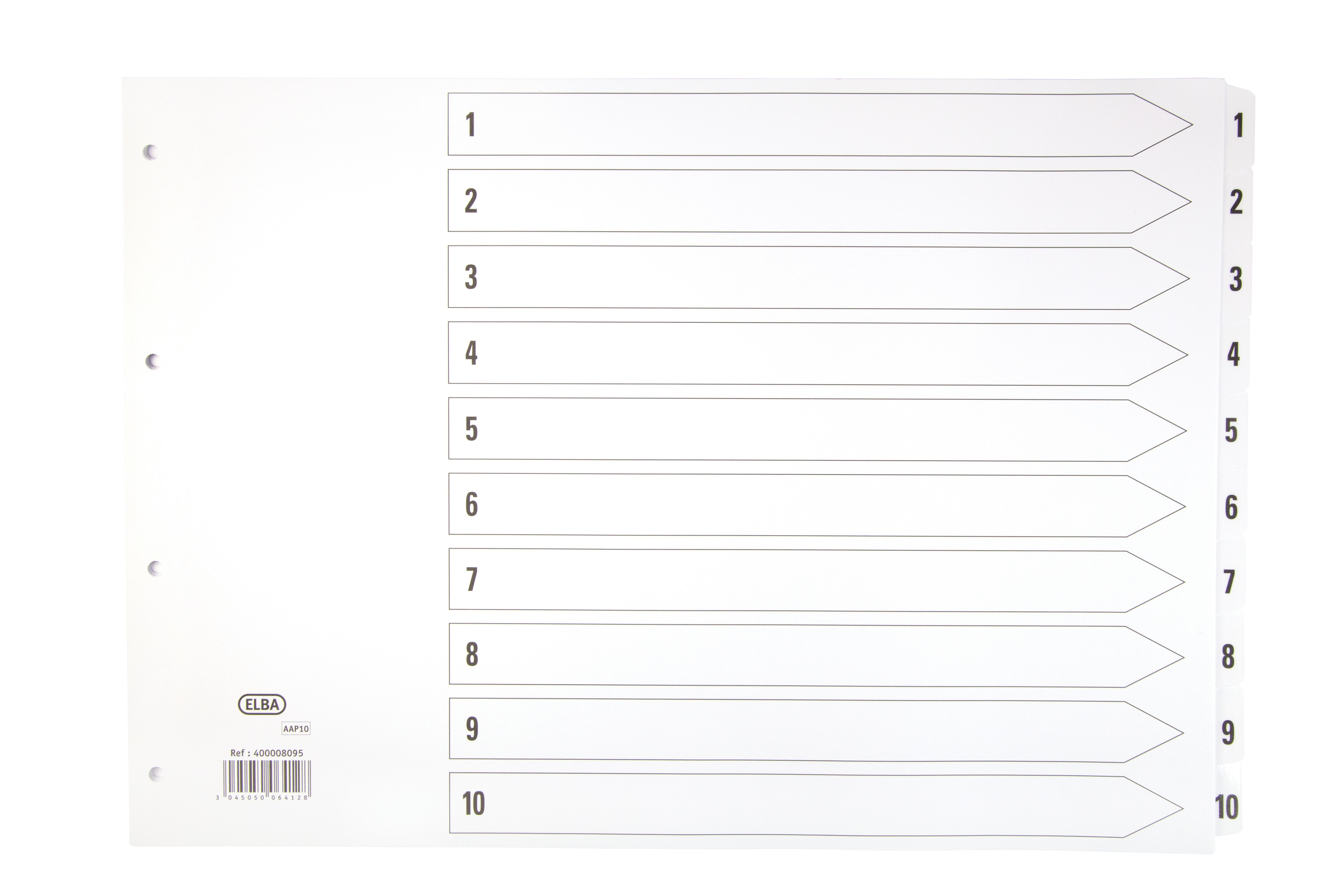 Elba Dividers Europunched 1-10 Clear Tabs A3 Landscape White Ref 400008095