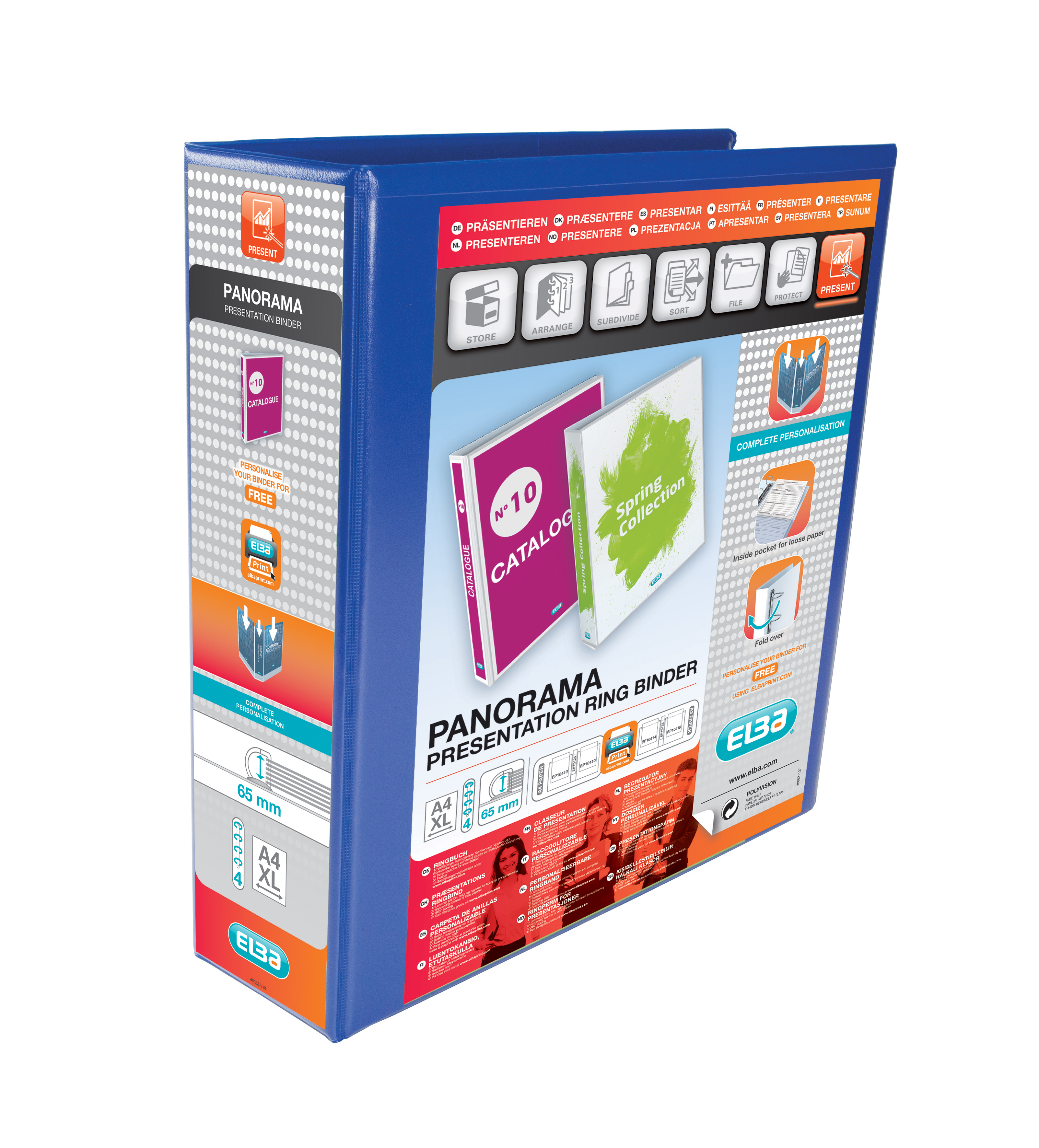 Elba Panorama Presentation Ring Binder PVC 4 D-Ring 65mm Capacity A4 Blue Ref 400008675 [Pack 4]