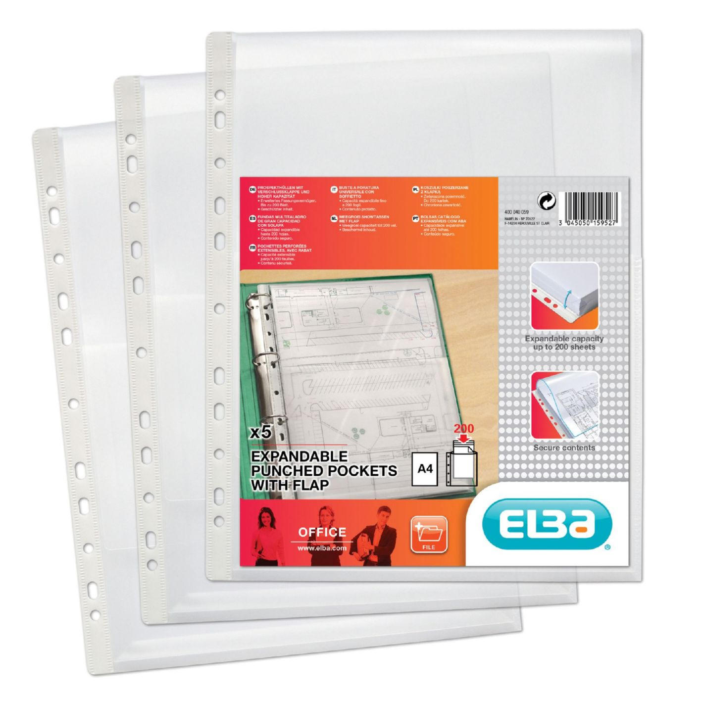 Elba Expanding Heavy-duty Pocket Polypropylene with Flap 170 Micron A4 Clear Ref 400040059 [Pack 5]
