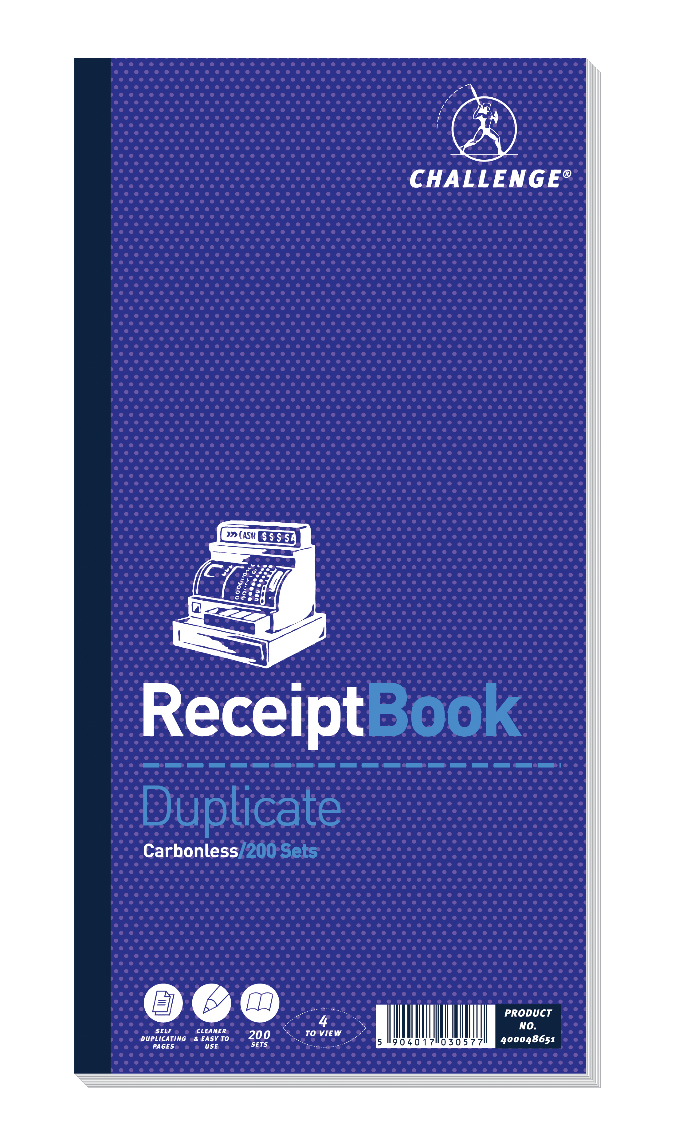 Image for Challenge Duplicate Book Carbonless 4 Sets per Page 200 Receipts 240x141mm Ref 400048651