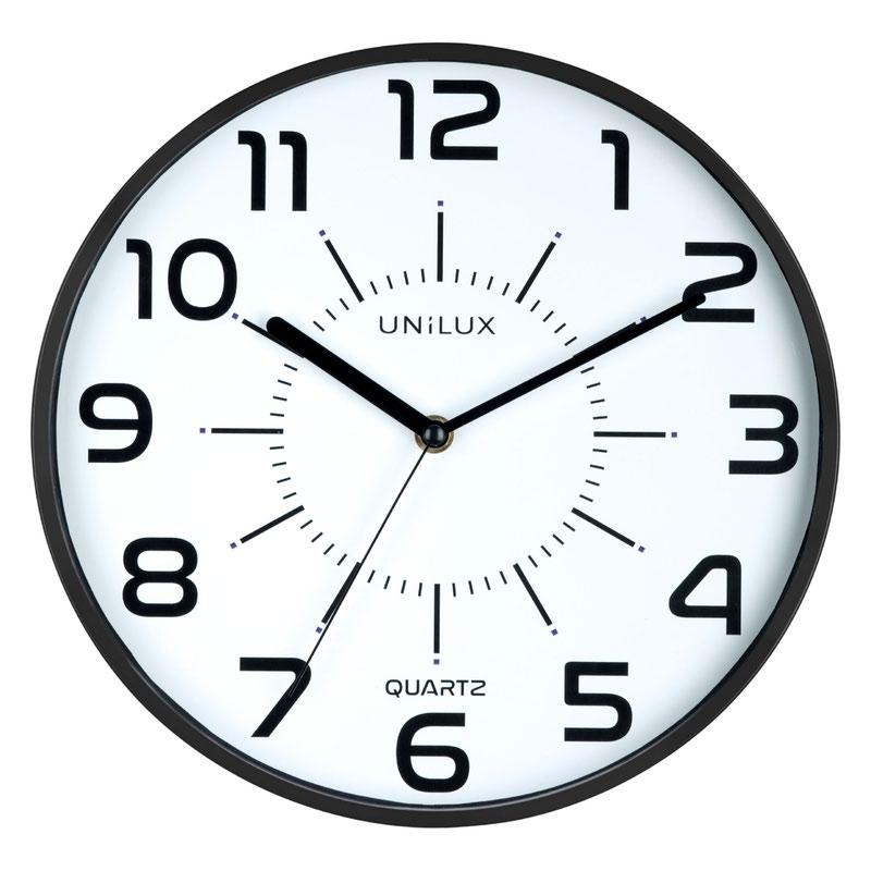 Unilux Clock Pop 280mm Diameter With Battery Black Rim 400094281