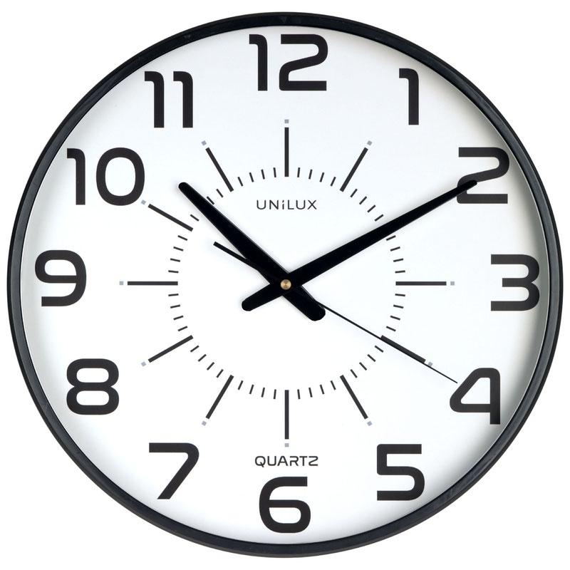 Unilux Clock Maxi Pop 375mm Diameter With Battery Black Rim 400094487